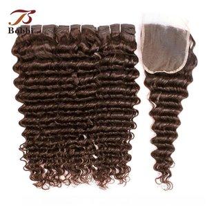 H 8a profonde vague bouclée Bundles avec fermeture # 4 Medium Brown Brésilien Virgin Hair 3 Bundles avec dentelle 4x4 Fermeture Remy cheveux humains Extensi