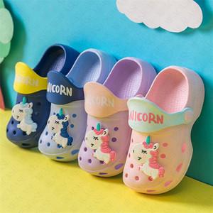 Zapatos de dibujos animados del unicornio Cave Niño Niña verano sandalias planas para niños antideslizante del bebé playa de los deslizadores chanclas niños al aire libre del deslizador D62207