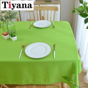 Tiyana Quality Solid Tablecloth Cover White Green Washable Coffee Dinner Table Cloth for Wedding Banquet Decor JK330Y Y200421