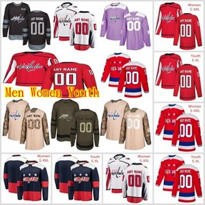 Custom Washington Capitals Jerseys Alex Ovechkin Jersey Garnet Hathaway Ilya Samsonov Jakub Vrana Red White Ice Hockey Jerseys Stitched