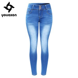 2143 Youaxon New Arrived Plus Size Faded Jeans para mujeres elásticos Push Up Denim pantalones pitillo pantalones Y19042901