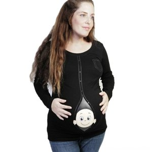 New Cute Pregnant Clothes Casual Pregnancy T Maternity Clothing Maternity Supplies Shirts with Baby Peeking Out Funny Pregnant Women Summer