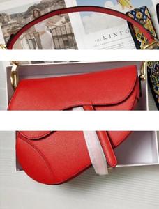 Luxury classic designer handbag high quality leather womens shoulder bag saddle bag 2019 new fashion metal letter handbag