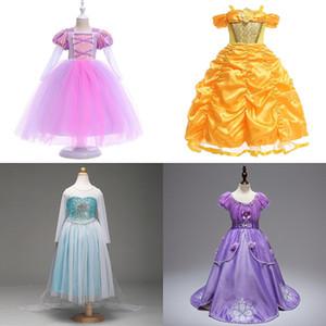 Abito da principessa in garza per ragazze Abito da ballo con una spalla monospalla con volant in rilievo Abiti da bambina Abiti da bambina per bambini 3-9T 07