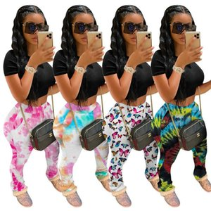 Las mujeres de Tmustobe manera ocasional plisado Impreso Pantalones Slim Fit Stacked Joggers Boot Cut Pant cuatro colores mediados de cintura bengalas