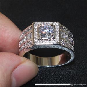 Alta USpecial 925 redondo de plata tono de la piedra preciosa del diamante simulado circón Side Band joyería de los anillos de compromiso de boda Hombres SZ 7-13