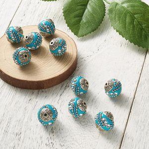 20PCS جولة اليدوية اندونيسيا فضفاض مجوهرات أنيقة جعل سوار الخرز الراين سبائك الفضة العتيقة اللون