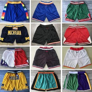 Top Qualität ! Michigan Wolverines Basketball Shorts Pantaloncini DA Korb Sport Shorts Korb College-Pants Don Tasche Weiß Rot Schwarz