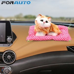 FORAUTO Car Ornament With Sound Cute Kitten Toys Dashboard Decoration Simulation Plush Cat Doll Auto Accessories Car-Styling