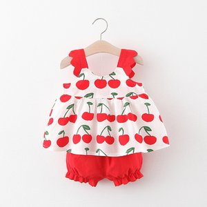 Summer new girl apple printed suspenders shorts two-piece suit 1-4 years old children's clothing