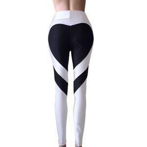 Mulheres Coração Splice print projeto estiramento respirável Jeggings Moda cintura alta Leggings Slim Fit Pants Plus Size M-XXXL