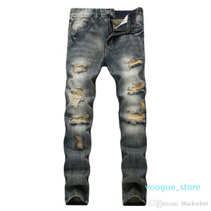 Men &#039 ;S Distress Ripped Biker Jeans Men Slim Stretch Straight Hole Jeans Trousers Mens Denim Pants Hip Hop Men Jeans