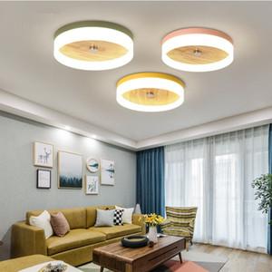 Nordic lámpara de techo llevada creativa macarons acrílico lámpara del dormitorio sala de madera maciza redonda balcón porche infantil pasillo de luz AL63