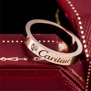 Rosa de Ouro ringsTitanium aço casal jóias simples tendência de amor anéis de mulheres homens anéis Femme Bijoux Pulseira