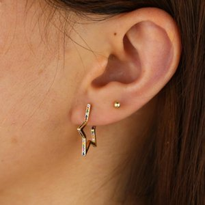 rainbow cz star hoop earring for women classic simple geometric jewelry