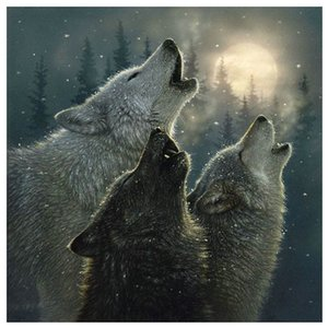 Ревущие Wolf Moon Forest 5D Алмазный Круглый Rhinestone вышивки Картина DIY вышивки крестом Kit Мозаика Draw Home Decor Art Craft подарок