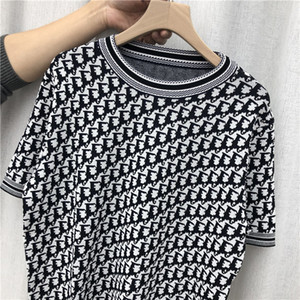 2020 Spring New D Letter Women Shirt Retro Jacquard Casual Round Neck Slim Sweater Short Sleeve T-shirt