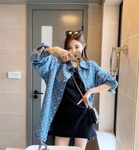 2019 Tasarım Kadınlar Casual Uzun Kollu Gevşek Bluz Yaka Denim Gömlek ceket Kadın Erkek Turn-aşağı Yaka onun-ve-onun giysi