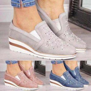 Designer aumentato Scarpe Mocassini donne Espadrillas Slip-on scarpe casuali comoda piattaforma in pelle traspirante Ragazze Sandalo grande formato EU35-43