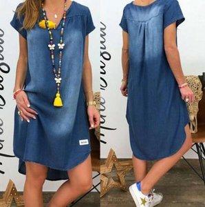 Casual Dresses 2021 Women V Collar Pullover Short Sleeve Denim Dress Plus Size Vestidos