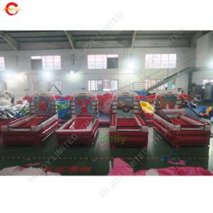 красный цвет пвх брезент надувные 4 в 1 спортивная игра для продажи коммерческие надувные карнавальные игры комбо