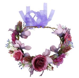 Couronnes de mariée Bandeau romantique pourpre Simulation Fleurs Bandeau Coiffe Décorations Party Favor Accessoires cheveux OOA7395