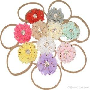 32 colorskullanıcısının 8 cm Şifon Çiçekler ile Naylon Halat Kafa Çocuk Saç Aksesuarları Bebek Headbands Çiçek Hairband