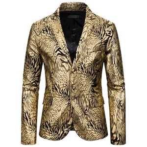 Fashion Men's Autumn Winter Casual Gold Print Button Jacket Long Sleeve Coat Top Male Suit Jacket Wedding Banquet Party Costume*