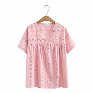 Plus size hollow out O neck dobby cotton women loose tshirts 2020 new casual ladies soft t shirts female tops pink navy white