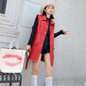 Women's Vests High Street Genuine Leather Womens Sleeveless Long Jackets Single Breasted Lapel Belt Pockets Plus Size Medium Length Waistcoa