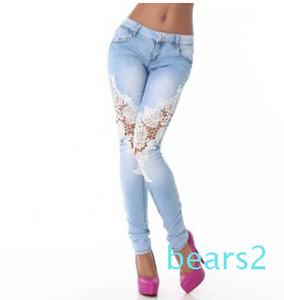 Women Vintage Denim Hot Sexy Openwork Lace Stitching Trousers Slim Feet Jeans Woman Plus Size Women Pants