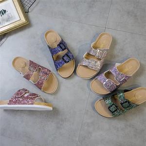 Горячая распродажа-блеск сабо для женщин летние повседневные сандалии PU шимеры пробки две ремни с пряжками Desginer обувь слайды квартиры