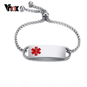 Vnox femmes Alerte médicale gratuite Bracelets Gravez Nom Déclaration ID Bracelet Acier inoxydable Bangles Longueur réglable S915