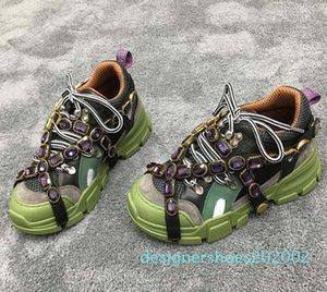 Neueste Flashtrek Designer Sneaker mit abnehmbarem Crystals Männer Luxus Designer Schuhe beiläufige Art und Weise Luxuxentwerfer Turnschuhe der Frauen 01 d02