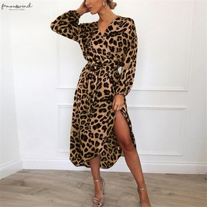 Leopard Dress 2020 Women Chiffon Long Beach Dress Loose Long Sleeve Deep V Neck A Line Sexy Party Dress Vestidos Mid Calf