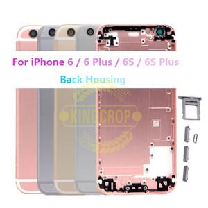 Neue gehäuse metall rückseitige abdeckung für iphone 6 6 plus 6 s batterieabdeckung gehäuse + seitentaste teile wünschen imei