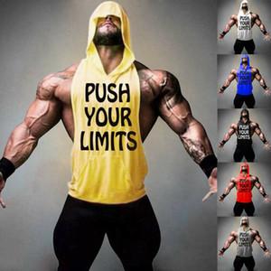 Hombres EE.UU. gimnasia ropa culturismo Stringer, con capucha sin mangas del músculo Camisa con capucha