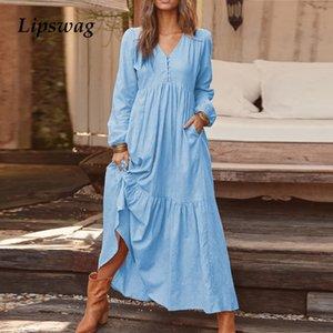 Lipswag Frauen Herbst-beiläufige lange Hülse faltete Partei-Kleid Eleganter V-Ausschnitt Pocket-Maxikleider 3XL Mode-Sommer-Kleid Vestidos