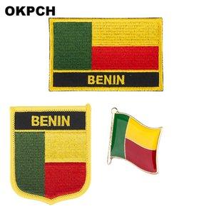 Insignia parche de la bandera de Benin 3pcs un conjunto de parches para la decoración de bricolaje PT0033-3