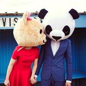 Halloween chefs d'amant d'ours panda costume de mascotte Costume de fête de mariage Props extérieure pour adultes Mascot Head