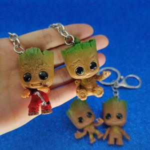 Guardianes de la galaxia de Groot Llavero PVC Groot Figura llavero Anillos clave Guarda juguetes joyas de moda Will y Sandy nave de la gota 340121