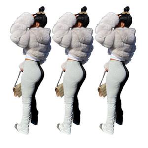 Womens micro de la llamarada apiladas Pantalones con paneles de color de diseño pantalones casuales pantalones apiladas cintura elástico ropa de mujer