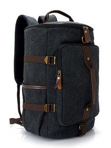 3pcs Mascarilla médica civiles en el interior de los hombres mochila mochila de lona con tapicería de cuero al aire libre bolsa de viaje para unisex Mochila con cuerdas de mano