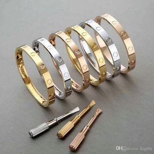 Роскошный титановый Стальной браслет мода Женская дизайнерская любовь 18k розовое золото браслеты манжеты браслеты отвертка ювелирные изделия