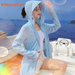 Plus Size Giacca spiaggia di estate UV di Donne Sun Protection vestiti della signora estate di modo allentato la protezione solare del rivestimento del cappotto T200520 camicetta di estate