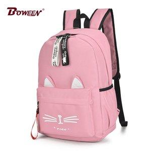 Милый мультфильм кошка уши рюкзак девушка школьный рюкзак для женщин-подростков рюкзак нейлон школьный рюкзак Famale Teen Bagpack 2018 новый Y19061004