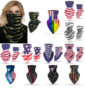 New Ice Silk Drapeau américain Masques visage respirant Oreille Hanging écharpe équitation d'extérieur coupe-vent Protetive Masque Party Supplies Écharpe XHH9-3043