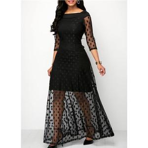 Vestido Mulheres Verão Outono Boho Estilo Polka Dot Ver Através Malha vestidos longos para mulheres elegantes roupas de festa Plus Size senhoras Vestidos