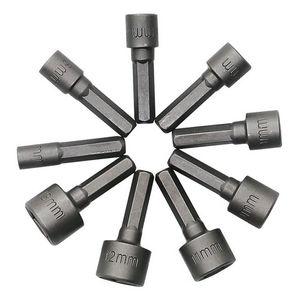 9PCS / 설정 도구 설정 5-13MM 너트 드라이버 세트 육각 핸들 너트 슬리브 소켓 육각 생크 키트 - 실버 그레이를 들어 가정용 온수