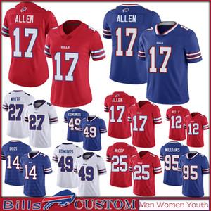 Buffalo 14 Stefon Diggs 17 Josh Allen personalizzato Bill Uomo Donna Bambini calcio maglie 49 Tremaine Edmunds 12 Jim Kelly 27 Bianco 20 Gore 25 McCoy